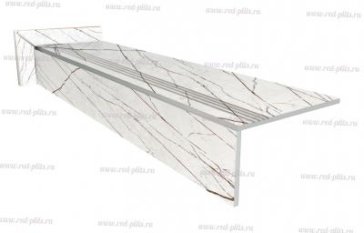 Купить готовые ступени из керамогранита, прямые ступени Sandra white 1200х300 для лестниц