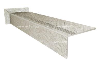 Купить ступень из керамогранита для входного крыльца Riverstone White по самым привлекательным ценам. Монтаж на лестнице, замерщик и доставка  - бесплатно