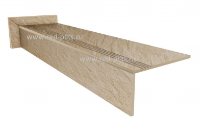 Купить  Ступень из керамогранита Коллекция Riverstone ivori под камень для лестниц