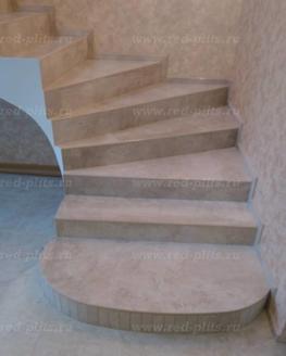 Лестница из ступеней керамогранита vista bone