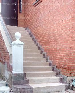 Облицовка уличной лестницы из керамогранита на 2 этаж