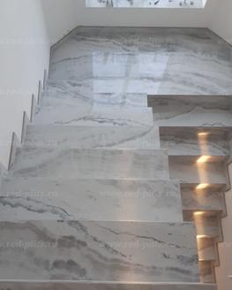 Лестница из керамогранита Oniks White